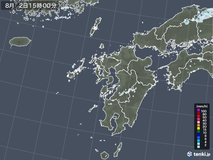 九州地方の雨雲レーダー(2020年08月02日)