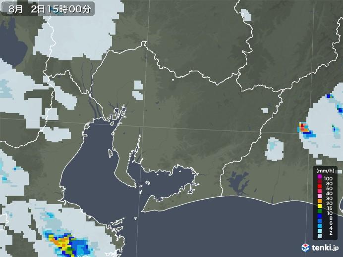 愛知県の雨雲レーダー(2020年08月02日)