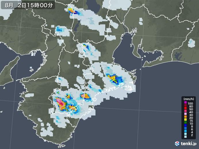 三重県の雨雲レーダー(2020年08月02日)