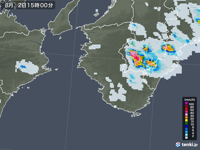和歌山県の雨雲レーダー(2020年08月02日)