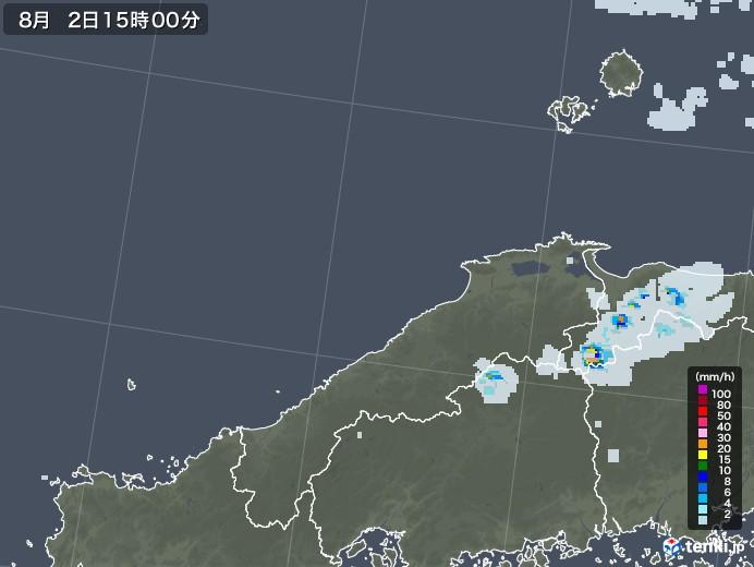 島根県の雨雲レーダー(2020年08月02日)