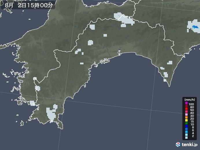 高知県の雨雲レーダー(2020年08月02日)
