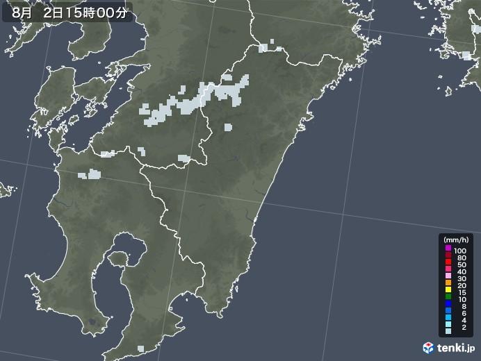 宮崎県の雨雲レーダー(2020年08月02日)