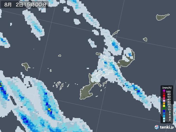 沖縄県の雨雲レーダー(2020年08月02日)