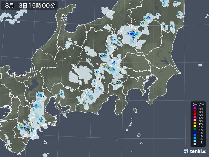 関東・甲信地方の雨雲レーダー(2020年08月03日)