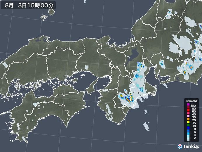 近畿地方の雨雲レーダー(2020年08月03日)