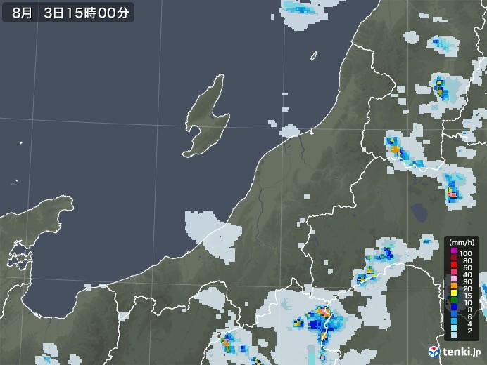 新潟県の雨雲レーダー(2020年08月03日)