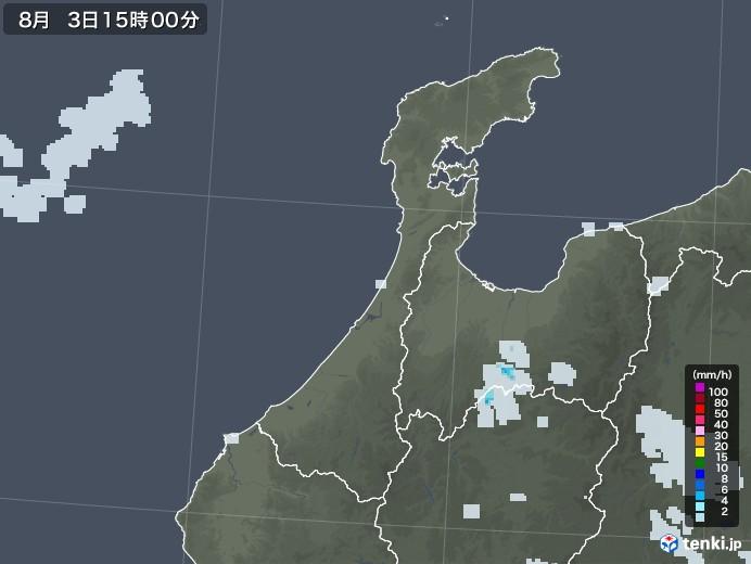 石川県の雨雲レーダー(2020年08月03日)