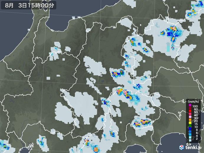 長野県の雨雲レーダー(2020年08月03日)