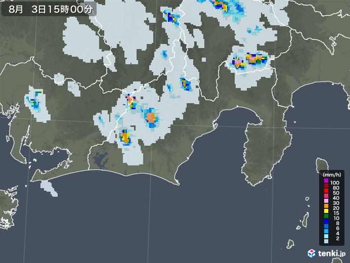 静岡県の雨雲レーダー(2020年08月03日)
