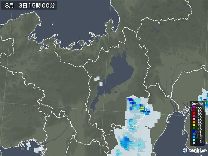 滋賀県の雨雲レーダー(2020年08月03日)