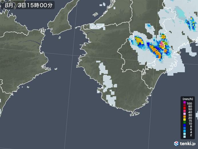 和歌山県の雨雲レーダー(2020年08月03日)