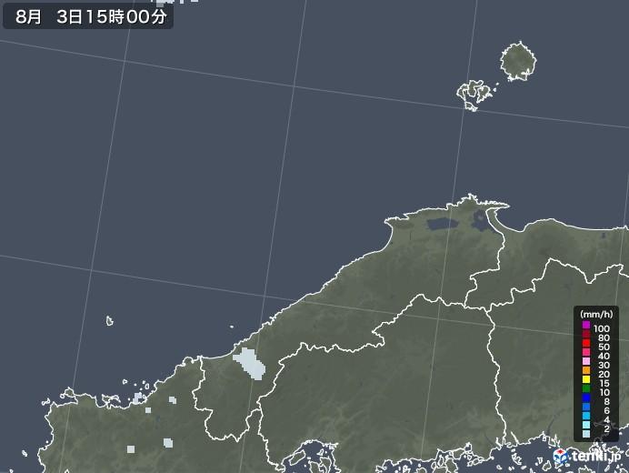 島根県の雨雲レーダー(2020年08月03日)