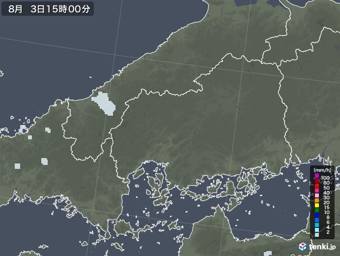 広島県の雨雲レーダー(2020年08月03日)