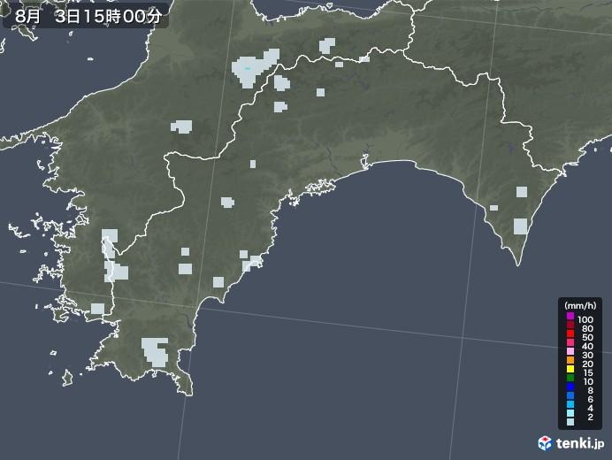 高知県の雨雲レーダー(2020年08月03日)
