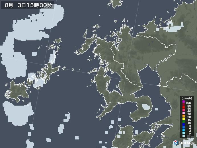長崎県の雨雲レーダー(2020年08月03日)
