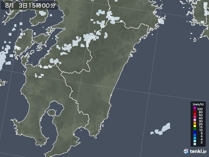 宮崎県の雨雲レーダー(2020年08月03日)