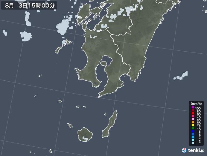 鹿児島県の雨雲レーダー(2020年08月03日)