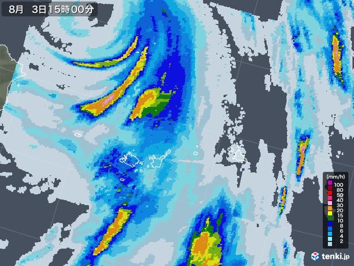 宮古島・石垣・与那国(沖縄県)の雨雲レーダー(2020年08月03日)