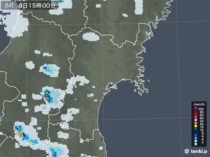 宮城県の雨雲レーダー(2020年08月03日)