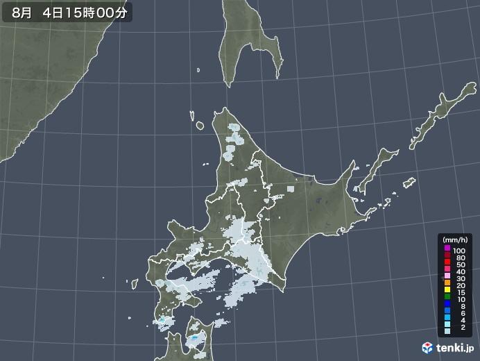 北海道地方の雨雲レーダー(2020年08月04日)