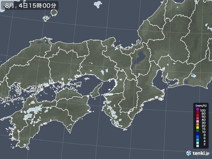 近畿地方の雨雲レーダー(2020年08月04日)