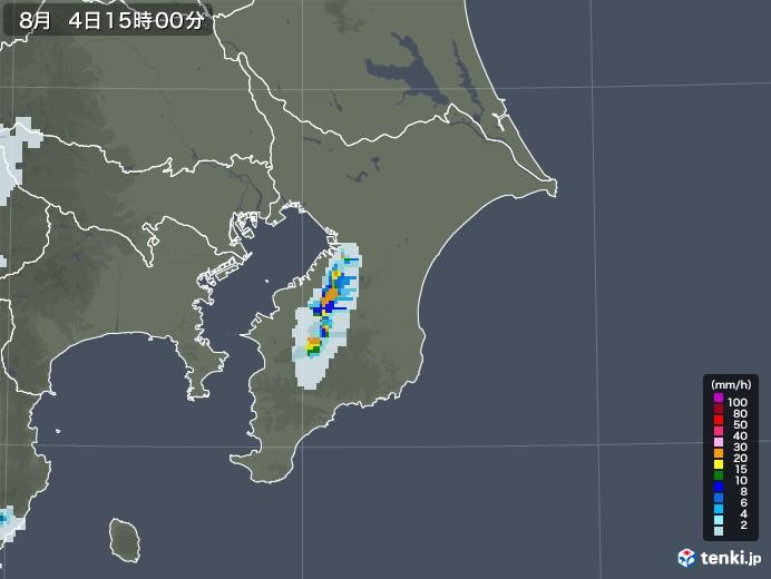 千葉県の雨雲レーダー(2020年08月04日)