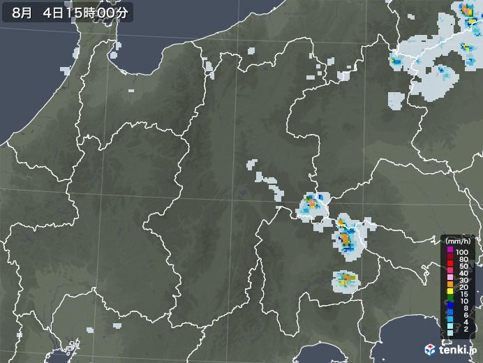 長野県の雨雲レーダー(2020年08月04日)