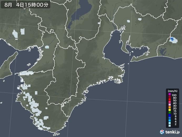 三重県の雨雲レーダー(2020年08月04日)