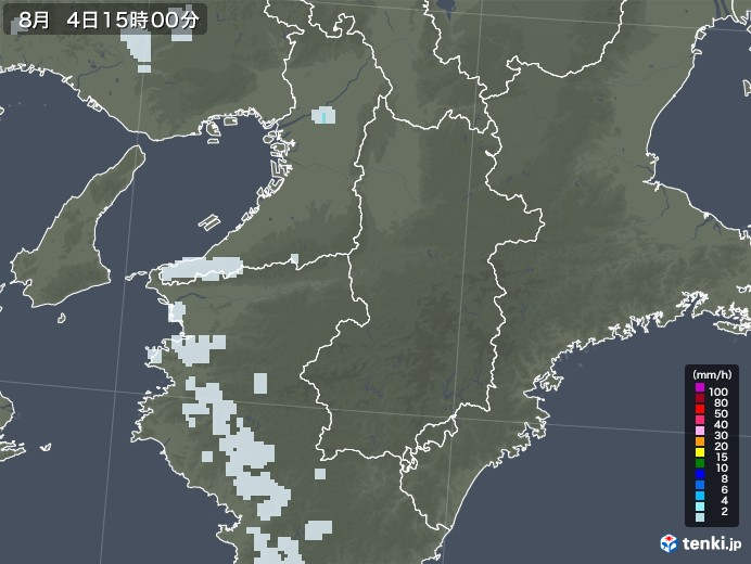 奈良県の雨雲レーダー(2020年08月04日)