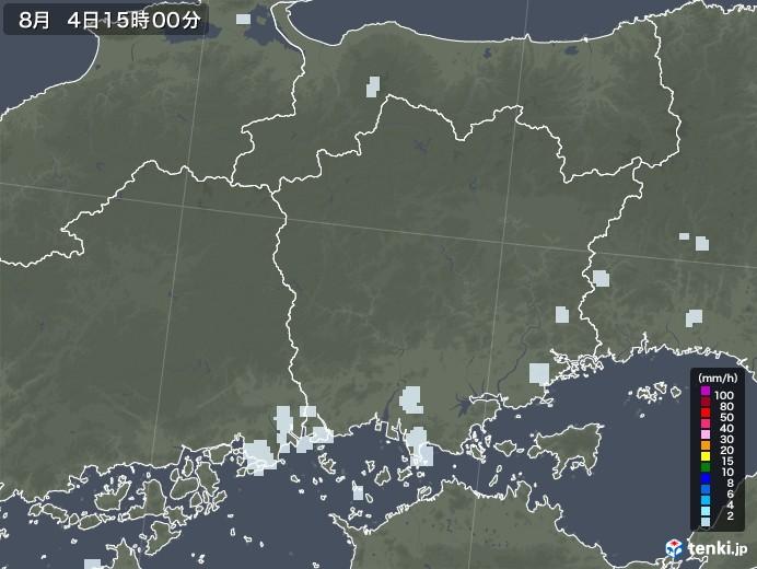 岡山県の雨雲レーダー(2020年08月04日)
