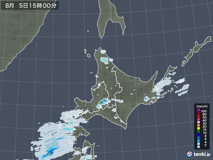 北海道地方の雨雲レーダー(2020年08月05日)