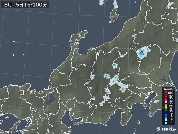 北陸地方の雨雲レーダー(2020年08月05日)