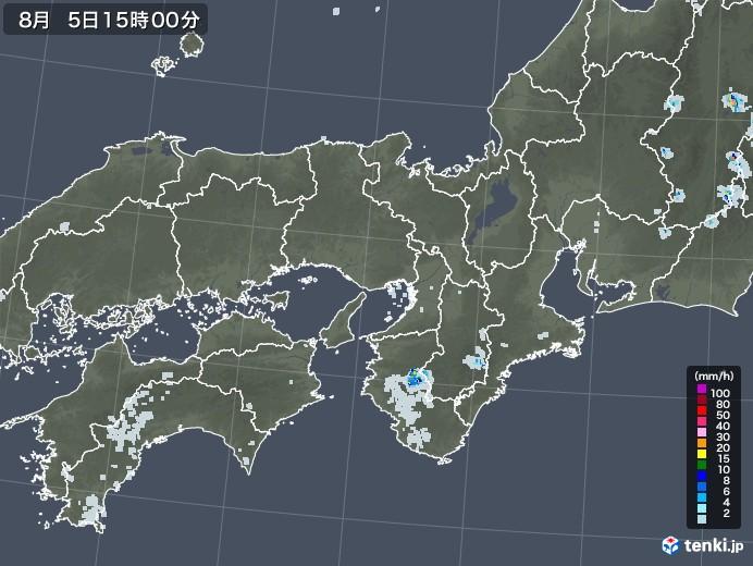 近畿地方の雨雲レーダー(2020年08月05日)