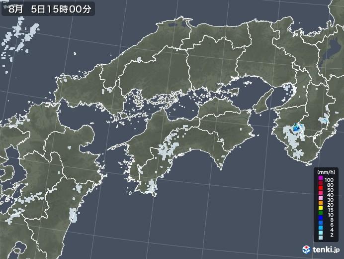 四国地方の雨雲レーダー(2020年08月05日)