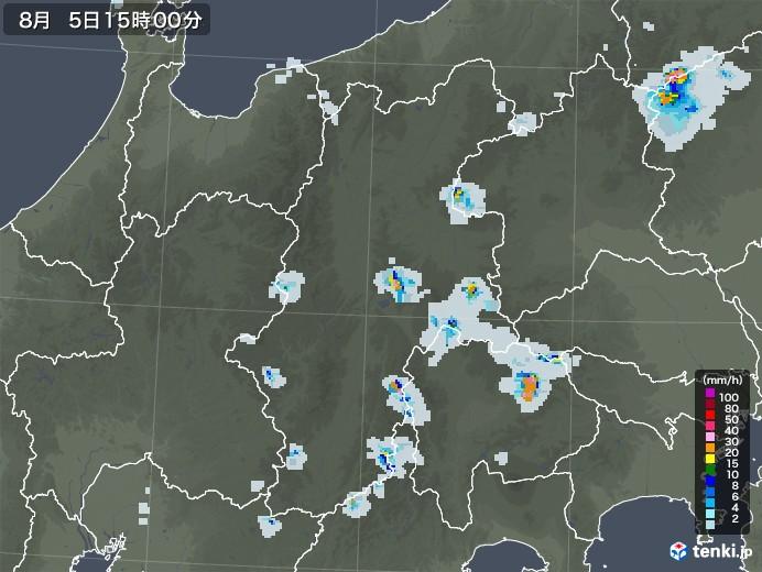 長野県の雨雲レーダー(2020年08月05日)