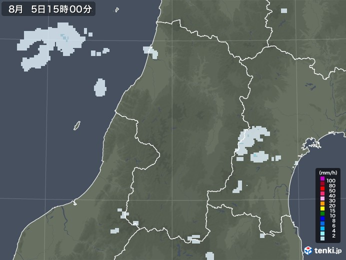 山形県の雨雲レーダー(2020年08月05日)