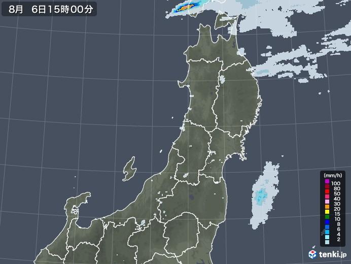 東北地方の雨雲レーダー(2020年08月06日)