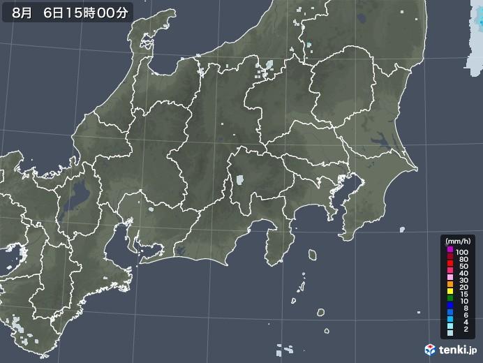 関東・甲信地方の雨雲レーダー(2020年08月06日)