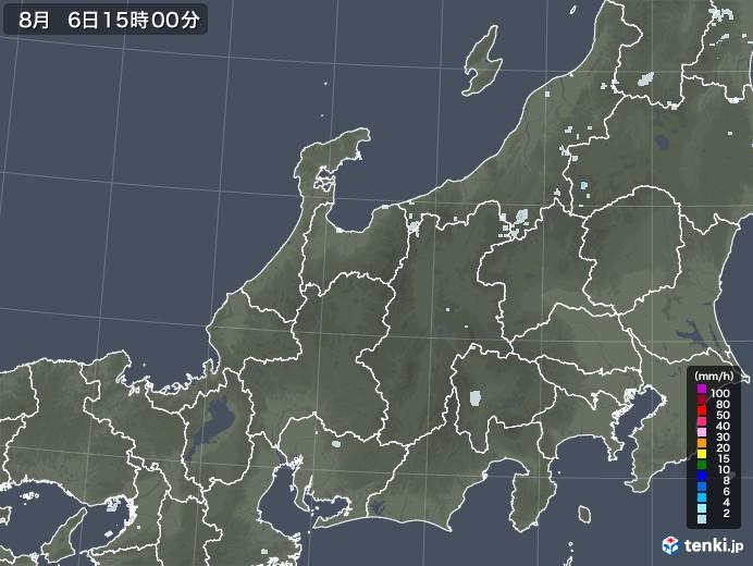 北陸地方の雨雲レーダー(2020年08月06日)
