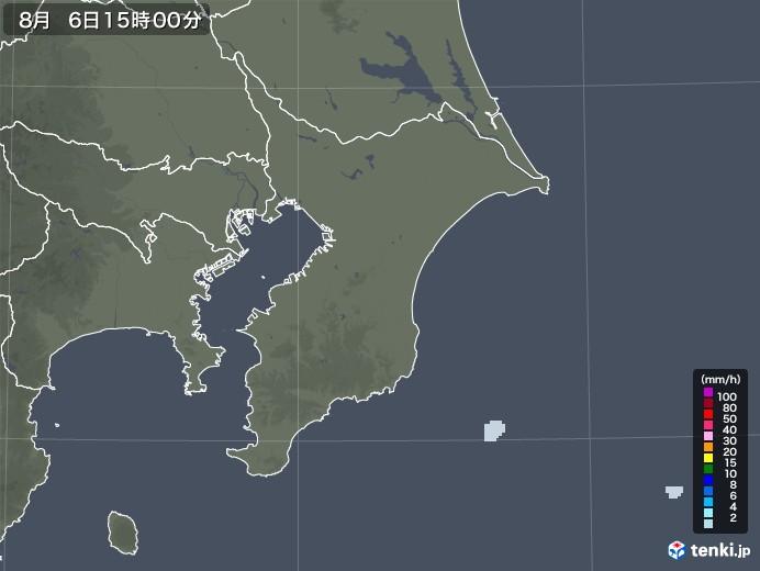 千葉県の雨雲レーダー(2020年08月06日)