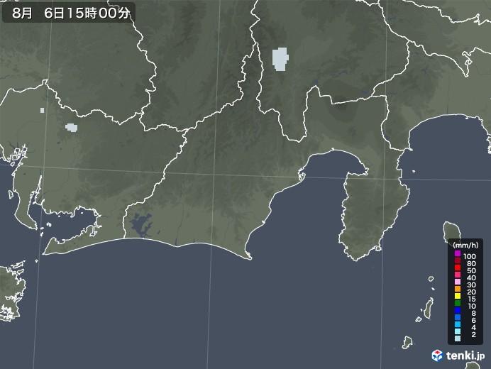 静岡県の雨雲レーダー(2020年08月06日)