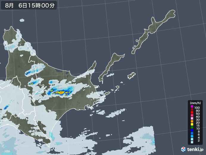 道東の雨雲レーダー(2020年08月06日)