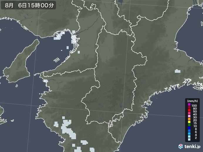 奈良県の雨雲レーダー(2020年08月06日)