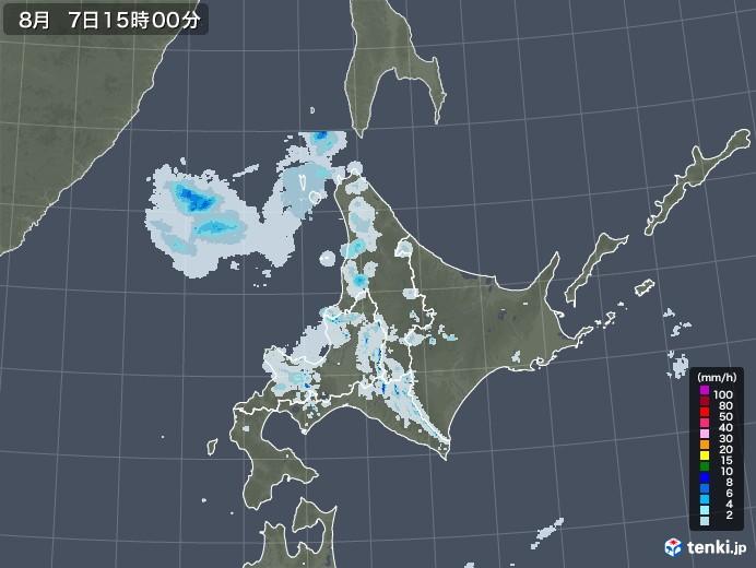 北海道地方の雨雲レーダー(2020年08月07日)