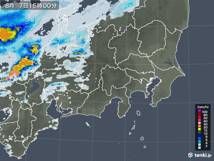 関東・甲信地方の雨雲レーダー(2020年08月07日)
