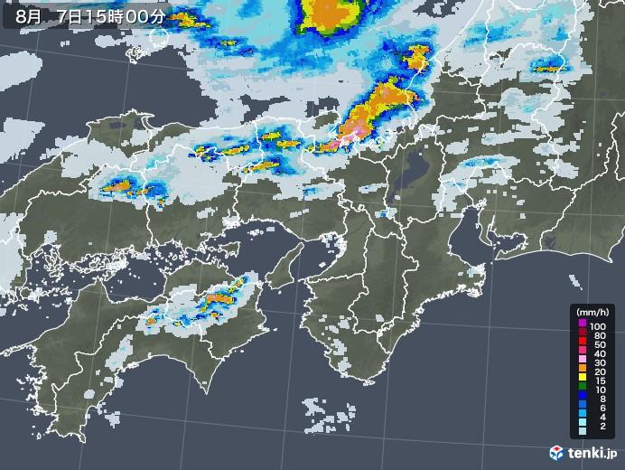 近畿地方の雨雲レーダー(2020年08月07日)
