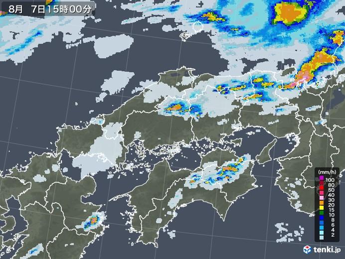 中国地方の雨雲レーダー(2020年08月07日)