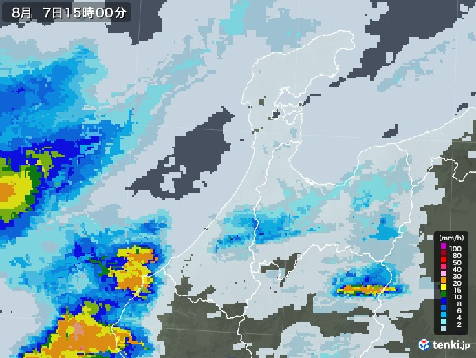 石川県の雨雲レーダー(2020年08月07日)