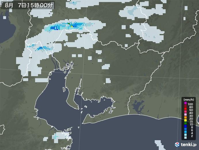 愛知県の雨雲レーダー(2020年08月07日)
